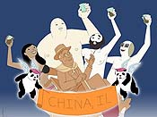 China-Man Begins Cartoon Picture