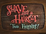 Shave And A Haircut.. Two Friends! Cartoon Funny Pictures