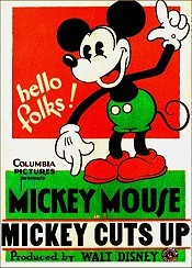 Mickey Cuts Up Picture Into Cartoon