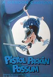 Pistol Packin' Possum Picture Into Cartoon