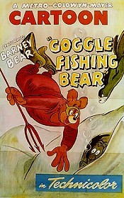 Goggle Fishing Bear Free Cartoon Picture