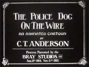Police Dog On The Wire Cartoon Picture