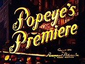 Popeye's Premiere Picture Of The Cartoon