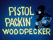 Pistol Packin' Woodpecker Cartoon Picture