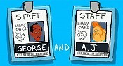 George & A.J. Picture Into Cartoon